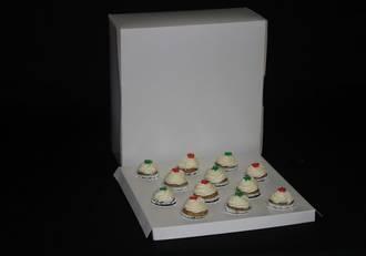 "12 - Mini Cupcake White Box 40mm Mini Insert - 10 x 10 x 4"""