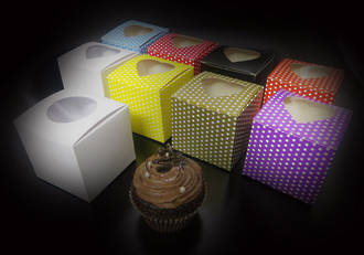 PACK OF 10 - Single cupcake box + insert & window (heart) - Please Inquire limited stock