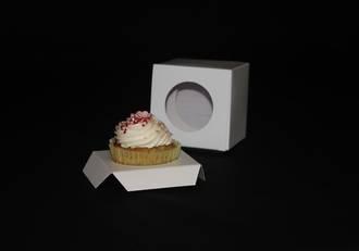 Single Cupcake White Box - Circle Window