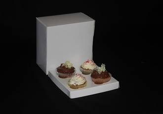 4 - Cupcake White Box 60mm Standard Insert - 7 x 7 x 4""