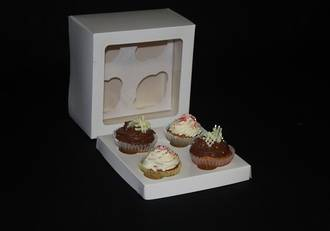 4 - Cupcake White Window Box 60mm Standard Insert - 7 x 7 x 4""