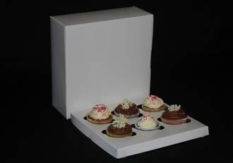 "6 - Cupcake White Box 60mm Standard Insert - 10 x 10 x 4"""