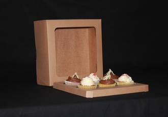 6 - Cupcake Eco Window Box 60mm Standard Insert - 10 x 10 x 4""