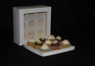 9 - Cupcake White Window Box 60mm Standard Insert - 10 x 10 x 4""