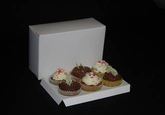 6 - OBLONG Cupcake White Box -  60mm Diameter Standard Hole Insert.