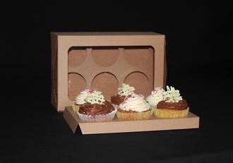 6- OBLONG Cupcake Eco Window Box - 60mm Diameter Standard Hole Insert