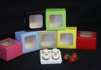 4 - Mini Special Occasion Cupcake Printed Colour Window Box - 40mm Diameter Mini Hole Insert