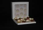 "12 - Cupcake White Window Box 60mm Standard Insert - 12 x 12 x 4"""