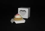 Single cupcake box + insert & window (heart) - white - OUT OF STOCK